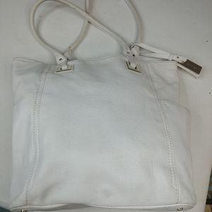 """Calvin Klein White Pebble Leather Hobo Bag 14"""" x 1"""